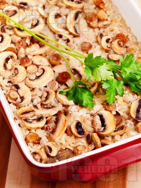 Запечен ориз с гъби на фурна - снимка на рецептата